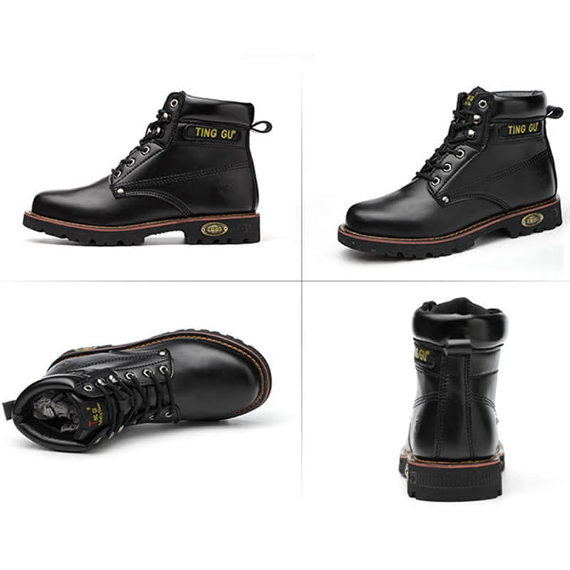 Black Leather Sport Steel Cap Work Safety Shoes
